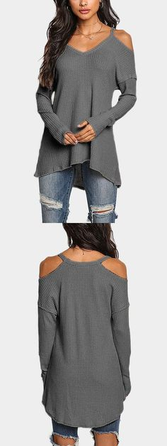 Dark Grey Cold Shoulder Long Sleeves Knitted Top