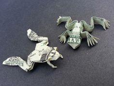 Money Origami Frogs - Dollar Bill Art