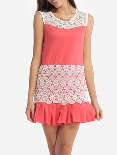 Assorted Colors Lace Patchwork Chic Round Neck Bodycon Dress - fashionme.com