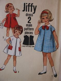 Vintage 1960s Jiffy  Simplicity Child Baby  Girl Dress A Line Front Invert Pleat 4872  Sewing Pattern Size 1. $7.00, via Etsy.