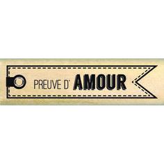 Tampon bois -Envolée de Douceur -  Etiquette d'amour  - 6,3 x 1,5 cm