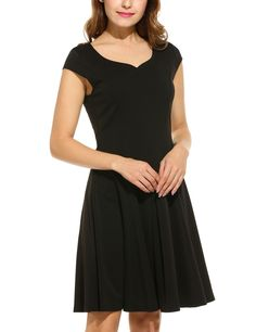 Blue Women Casual Heart V-Neck Cap Sleeve Solid Pleated Dress