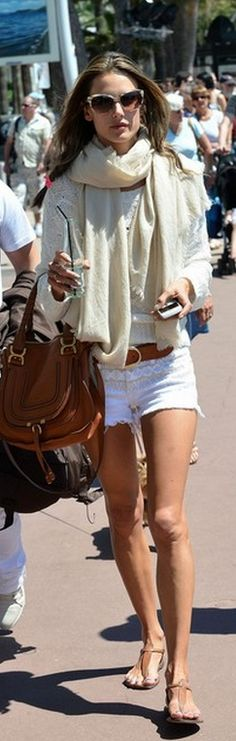 Who made Alessandra Ambrosio's white print denim shorts, woven sweater, tan flat sandals, and brown handbag?