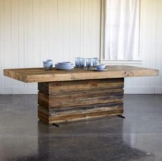 Modern Wood Dining Room Tables industrial workbench kitchen island table | workbenches, antiques