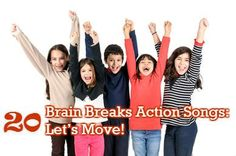 We've put together 20 fun, energizing brain breaks videos. These action, dance and movement songs make it easy for you to integrate brain breaks into your classroom. Your students will LOVE these brain breaks activities and it's all FREE!
