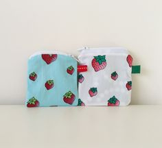 Set of 2 Small Pouches - Strawberry Print Zipper Change Pouch - Fabric Pouch - Girls Coin Pouch - Treasures Pouch - Tiny Purse by BlackcatmeowDesigns on Etsy