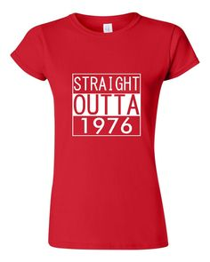 Straight Outta 1976 40th Birthday T Shirt For Men by BlueFrogTees