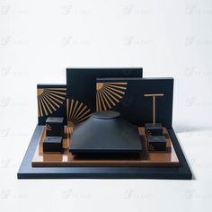 Handmade blue and gold leather wooden jewelry display holder