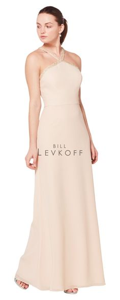 c3d10c92cab Special Offers - Bill Levkoff Bridesmaid Dress Style 1605 - Soft Chiffon  halter gown with beaded straps that criss-cross in the back.