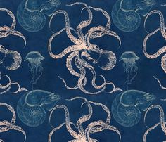 You might also like this print with Octopus and squid! http://www.spoonflower.com/fabric/3190039