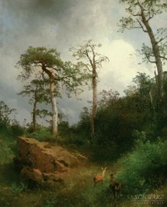 Mountain Landscape with Deer by Herman Herzog (Oil on Canvas, 27 x 22)