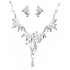 Bridal Wedding Jewelry Set Crystal Rhinestone Pearl Floral Vine Design Necklace buy at mariescrystals.com