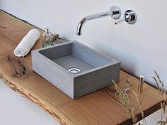 Countertop rectangular concrete handrinse basin BOX MINI - Gravelli