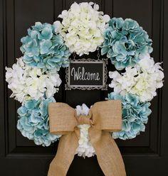 "Hydrangea Wreath - 19""  Creamy White & Blue 4x6 CHALKBOARD  - Burlap Bow…"