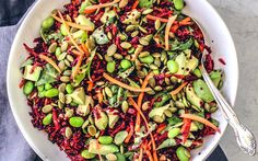 Ruby red beets are shredded, then tossed in a citrusy vinaigrette along with creamy chunks of avocado, carrots, edamame, hearty quinoa, and toasty pepitas. Then, the whole thing is drizzles with a …