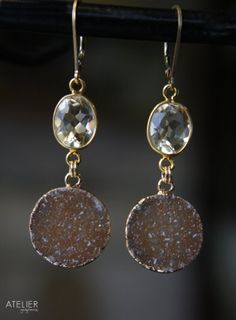 Citrine Gemstone & Drusy Earrings by ATELIERGabyMarcos on Etsy, $159.00