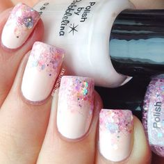 """bubblelina's """"Survivor"""" (light pink creme base) + """"No Love Lost"""" (sparkly pink glitter topper/jelly) - Instagram photo by followthatway"""