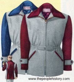1950 Two Tone Campus Style Jacket  Insulated to keep warm. Heat-holding 24-ounce reprocessed wool, fully lined with rayon quilted to deep cotton inner lining. Snug elastic waist insert; front belt. Zip front, two slash pockets. Colors come in gray front with maroon back and trim or gray front with blue back and trim.