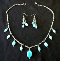 Swaying Turquoise Set  Necklace & Earrings by FiordlandCreations, $35.00