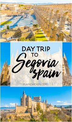 Segovia, Spain - a great day trip from Madrid. The Roman Aqueduct is not to be missed. Make sure to stay until sunset to see the shadows! The Cathedral of Segovia is beautiful and the Alcazar of Segovia was an inspiration for Cinderella's Castle! A must on your trip to Spain!
