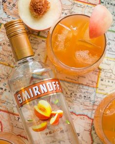 """""""Peach Pit Punch"""", an easy drink for summer vacation and weekend getaways. Mix 2 cups of Smirnoff Peach, 1.5 cup of orange juice, 1.5 cup of cranberry juice and enjoy with 8 friends! #DiageoRep #Smirnoff"""
