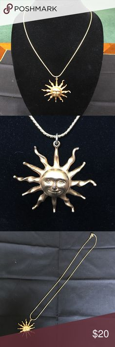 Anne Klein sun necklace Beautiful gold sun necklace. Nice long chain! The nose of the sun is fading its gold coverage, but not really noticeable when wearing. Anne Klein Jewelry Necklaces