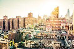 New York City - Chinatown Rooftops with Graffiti at Sunset