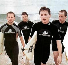 Sean Astin, Billy Boyd, Dominic Monaghan, and Elijah Wood- surfing in New Zealand