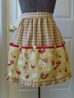 Apron- Half Apron Retro Style Cute Chicken and Plaid Fabric Tuscan Gold, Rust…