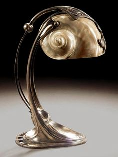 Gustav Gurschner, Art Nouveau Table Lamp With Nautilus Shell Lampshade Design Art Nouveau, Muebles Art Deco, Lampe Art Deco, Jugendstil Design, Nautilus Shell, Metal Table Lamps, Pottery, Antiques, Lamp Ideas