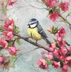 «Синяя синица и цветы» оригинальное изобразительное искусство Криста Итон