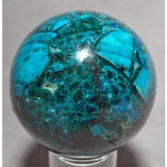 Chrysocolla With Azurite And Malachite Crystal Sphere - Baghdad Mine, Arizona