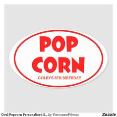 Shop Oval Popcorn Personalized Stickers created by VisionsandVerses. Personalized Stickers, Custom Stickers, Movie Themes, Party Themes, Red Carpet Theme Party, Hollywood Sweet 16, Popcorn Theme, Disney Balloons, Circus Carnival Party