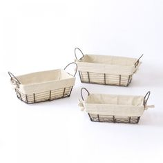French Cottage Wire Lined Storage Baskets