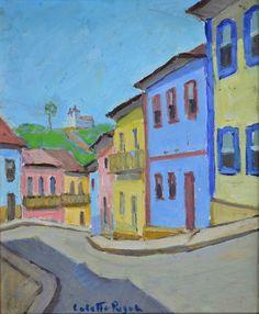 COLETTE PUJOL - (1913 - 1999)    Título: Ouro Preto  Técnica: óleo sobre eucatex  Medidas: 30 x 23 cm  Assinatura: centro inferior