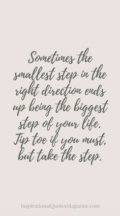 Sometimes the smallest step in the right.....