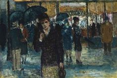 Street Scene under the Rain, n.d.  Jean-Louis-Marcel COSSON, 1878-1956 French Artist  Oil on canvas  Private collection