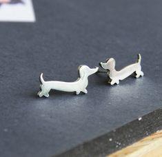 Dachshund Earrings Doxie Studs Wiener Dog Jewelry by LolaAndCash