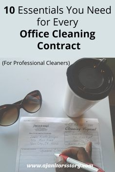 Cleaning contracts can a one-page document or 10 pages of details. Here are 10 things you should always add in office cleaning contracts, no mater what! Cleaning Day, Cleaning Checklist, Green Cleaning, House Cleaning Tips, Cleaning Hacks, Office Cleaning, Cleaning Contracts, Cleaning Companies, Cleaning Business
