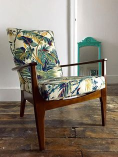 Love vintage palm fabric...This mid century Parker Knoll chair delivers complete comfort and style. it has…