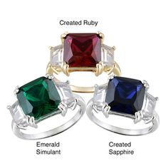 Glitzy Rocks Sterling Silver Gemstone Solitaire Ring | Overstock.com
