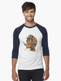 Grunge Steampunk Rhinoceros T Shirt.  Handsome grunge steampunk rhino with mechanical gears looking very retro and vintage.  Great design for the rhino lovers who want a rhinoceros to look a bit different.  #rhinoceros #rhino #steampunk #victorian #mechanical #vintage #retro #grunge #giftideas #fashion #homedecor #artsandcrafts #stickers #redbubblestickers #redbubble #art #redbubbleshop #ad @giftsbyminuet Baseball T, Tshirt Colors, V Neck T Shirt, Chiffon Tops, Steampunk, Classic T Shirts, Long Sleeve, Mens Tops, Dog Fashion