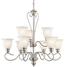 Kichler Lighting 42907NI Tanglewood 9-Light Chandelier, Brushed Nickel Finish with Satin Etched Glass by Kichler Lighting
