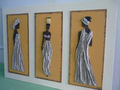 Африка result for cuadros calas con relieve Black Art Painting, Fabric Painting, African American Art, African Women, African Figurines, Cut Out Art, Cardboard Box Crafts, African Crafts, Creative Arts And Crafts