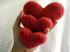 Hearts crochet from chunky red wool