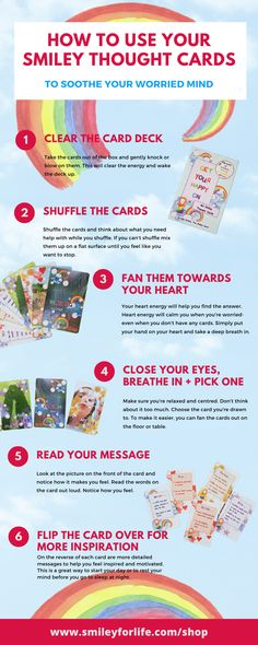 This is a step by step fun way to help worried or anxious children to feel good about themselves by developing a growth mindset. You can pick up a box of cards here www.smileyforlife.com/shop/smiley-thought-cards #growthmindset #kidsaffirmationcards #positivethinking #emotionallyresilientkids #raisingconfidentkids