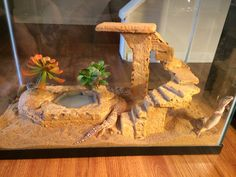 Out of styrofoam , glue and grout :) for my leopard geckos.