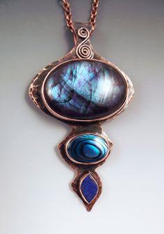 Labradorite Abalone and Lapis Smokey Copper Metal Art by RedPaw, $229.00