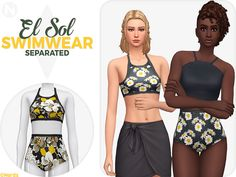The Sims 4 — nords-sims: El Sol Swimwear Separated: Hello. Sims 4 Mods Clothes, Sims 4 Clothing, Female Clothing, Sims Mods, Maxis, Sims 4 Cc Shoes, Sims4 Clothes, Sims 4 Mm Cc, Sims 4 Cc Finds