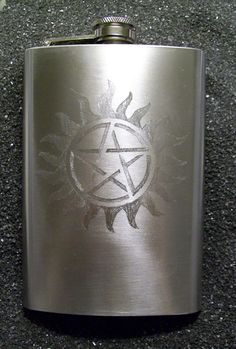 Supernatural Protection Tattoo flask by CoventryDecor on Etsy, $30.00